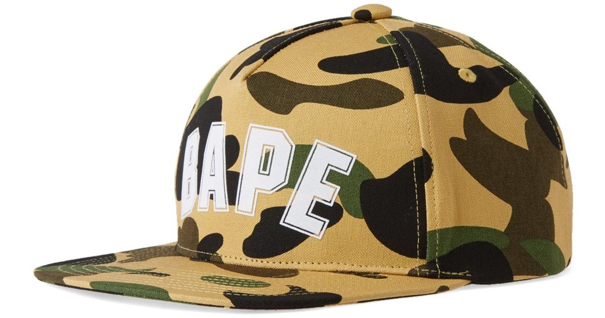 4a0db836bfc A Bathing Ape 1st Camo Bape Outline Snapback in Yellow for Men - Lyst