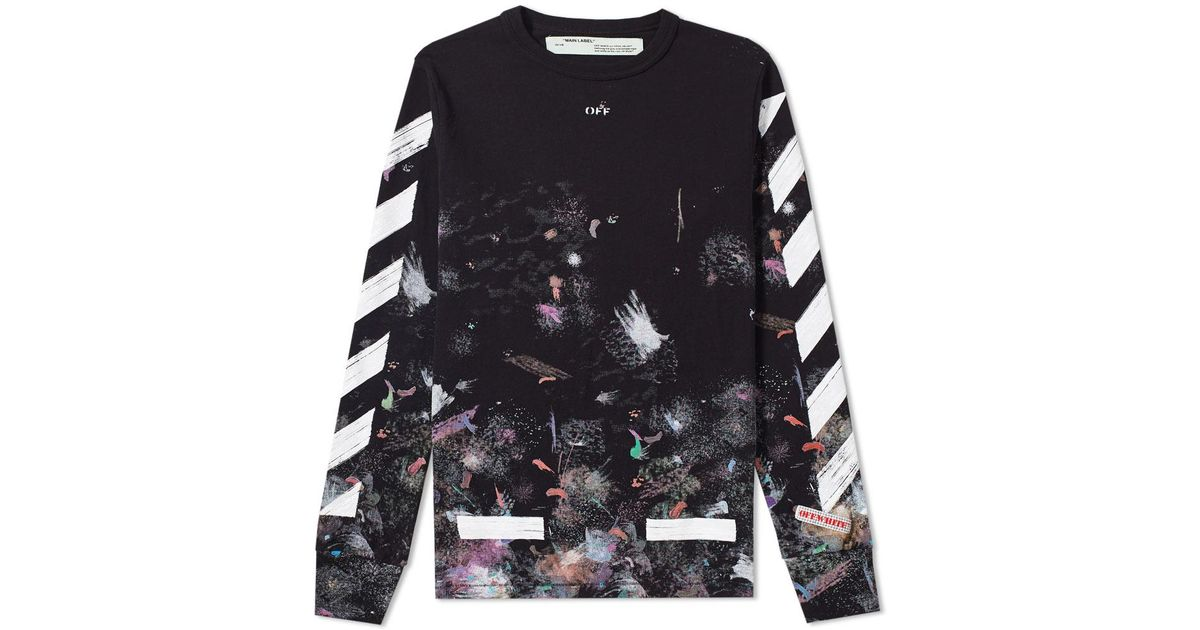 98ca7638a5e2cb Lyst - Off-White c o Virgil Abloh Diagonal Galaxy Long Sleeve Tee in Black  for Men