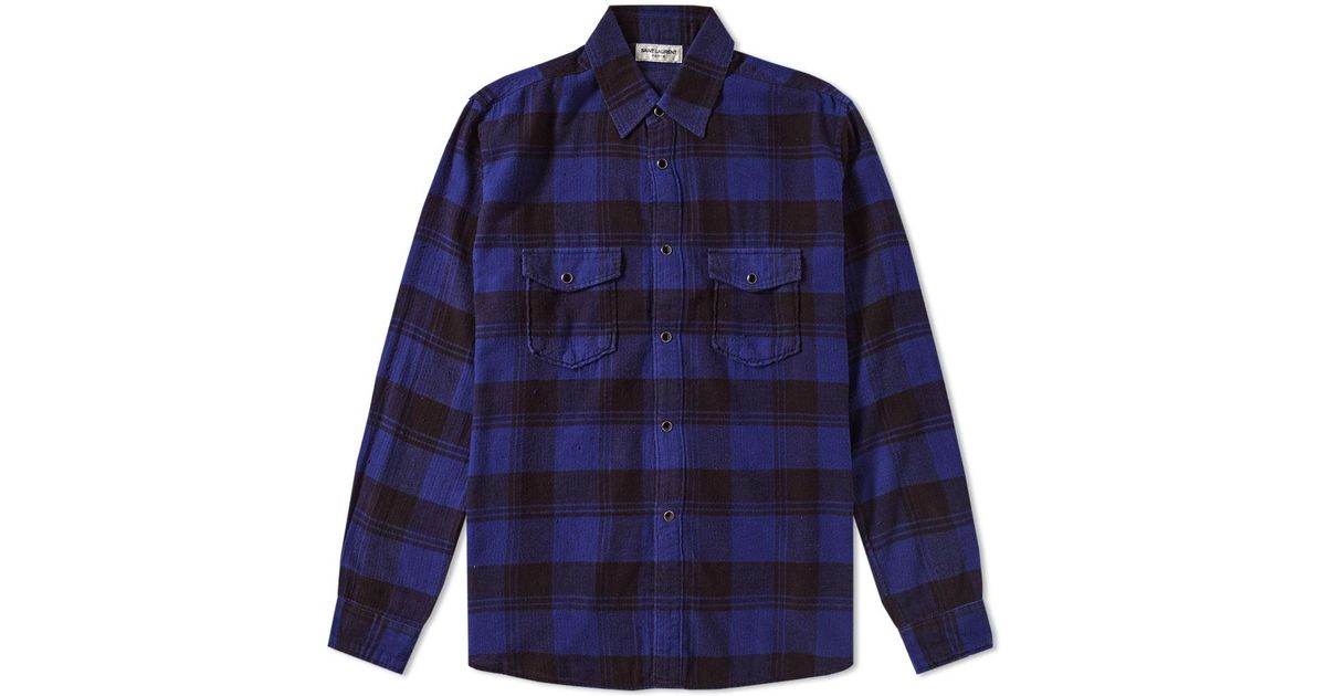Saint laurent flannel check shirt in blue for men lyst for Saint laurent check shirt
