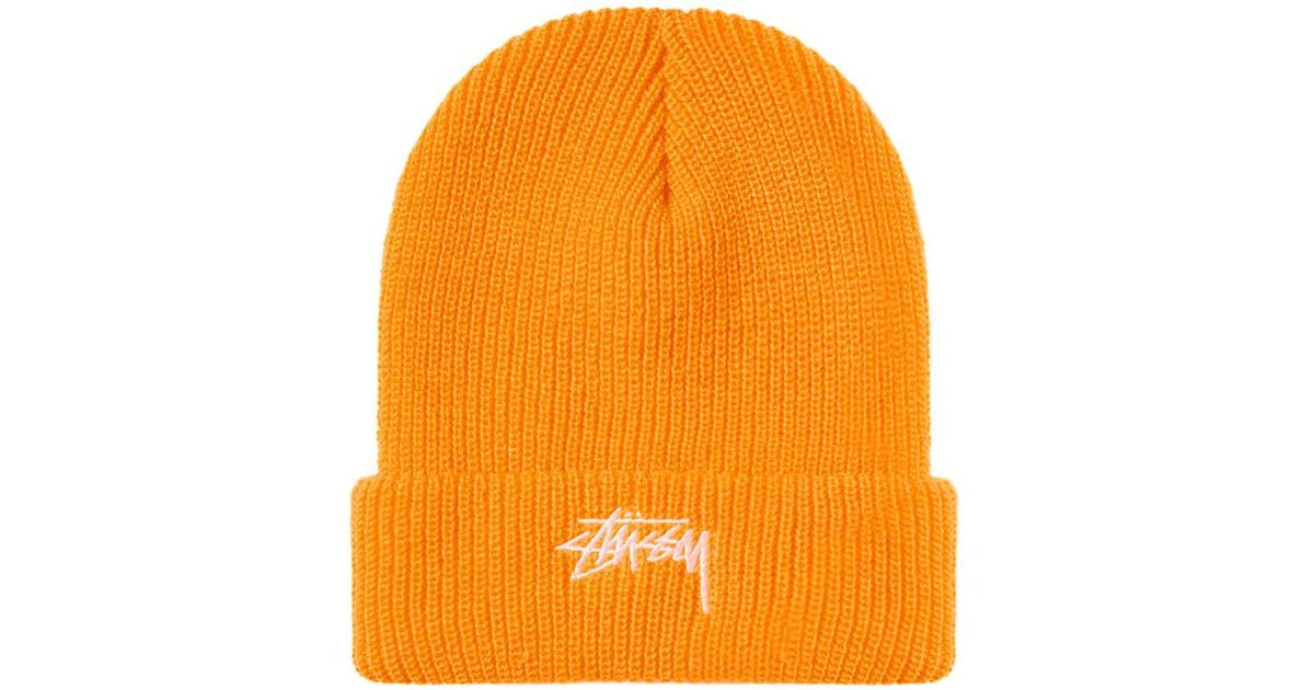 51cd86be14777 Lyst - Stussy Ho18 Stock Cuff Beanie in Orange for Men