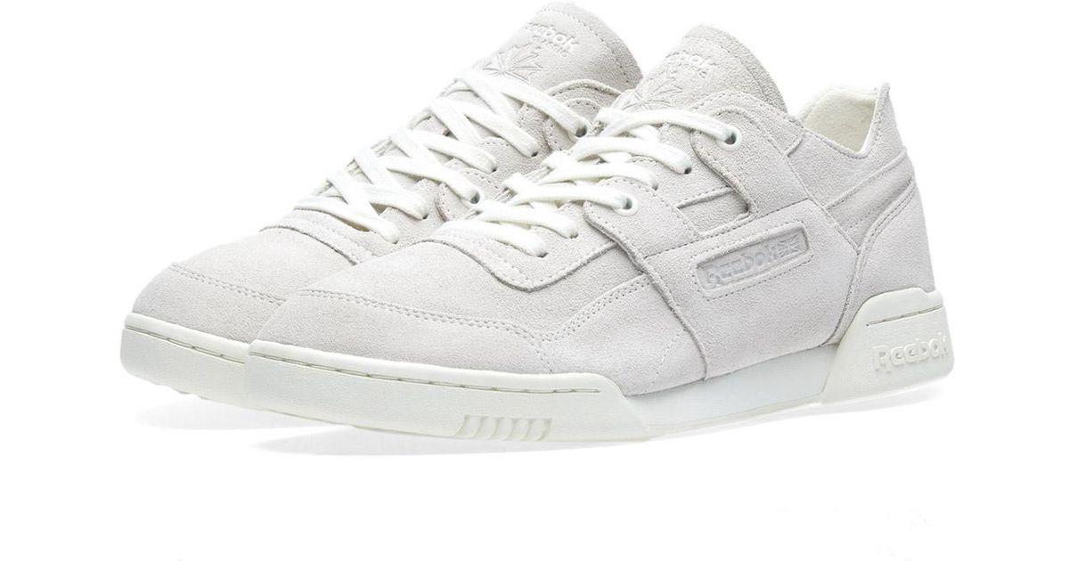 Womens Reebok Gray Workout Lo Plus Fbt Suede Sneakers Court