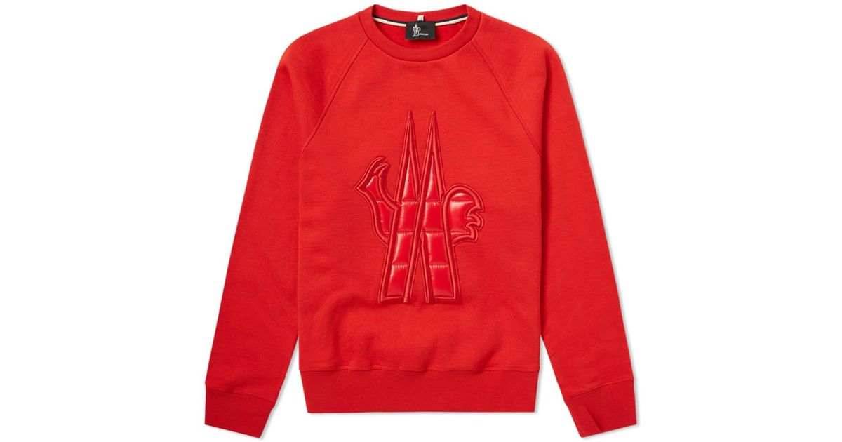 2365dbf2ccff Lyst - Moncler Grenoble Logo Crew Sweat in Red for Men - Save 48%