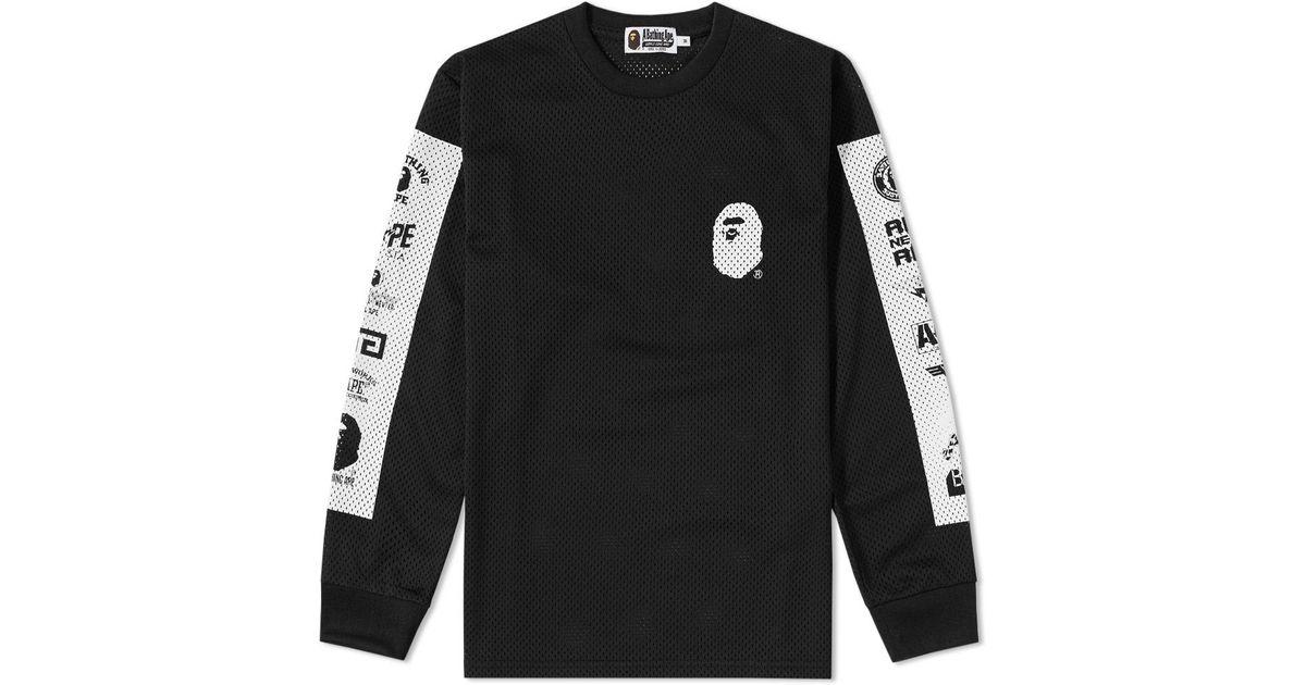 bb50efea Lyst - A Bathing Ape Long Sleeve Multi Logo Mesh Tee in Black for Men