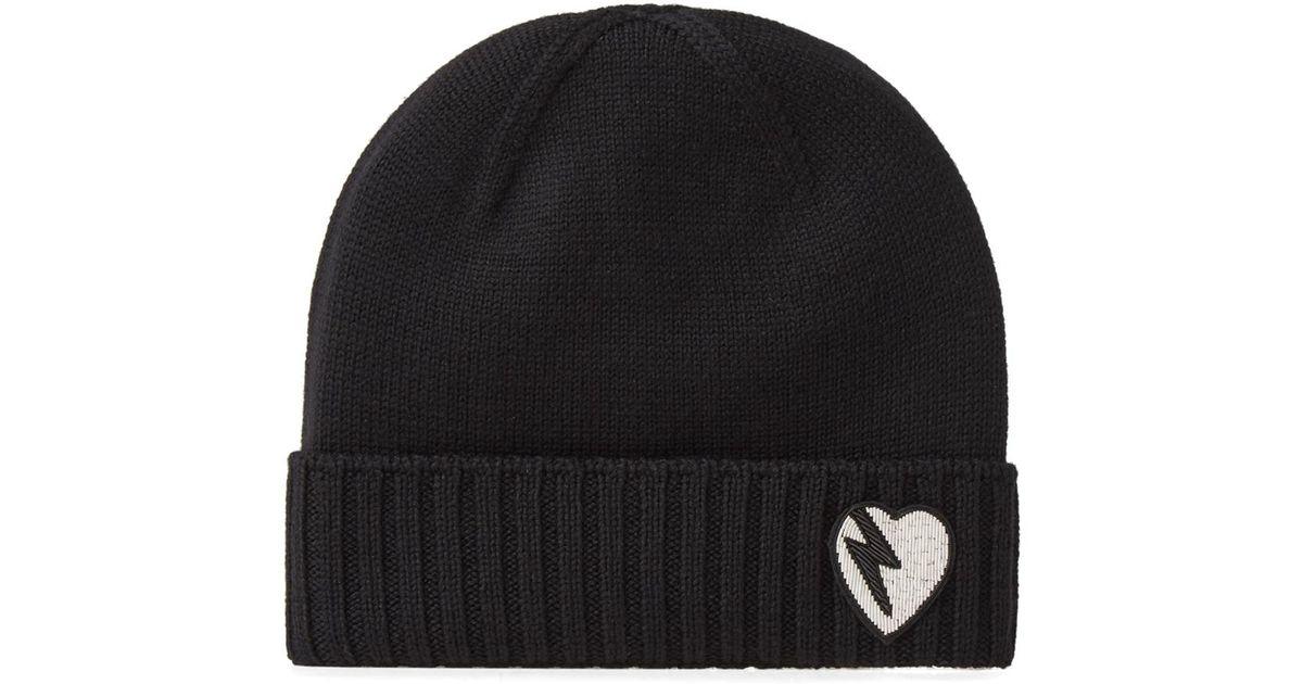 a2f6e1238e3 Lyst - Saint Laurent Heart Knit Beanie in Black for Men
