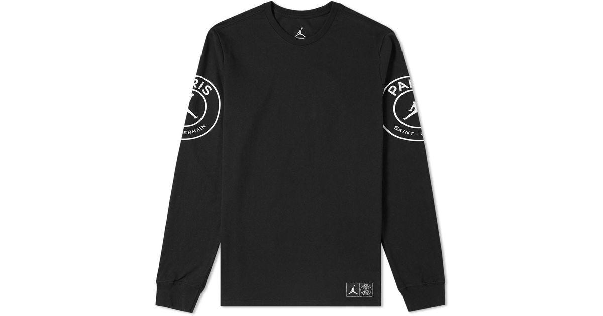 e4b8e960d764 Nike Jordan X Paris Saint-germain Long Sleeve Tee in Black for Men - Lyst