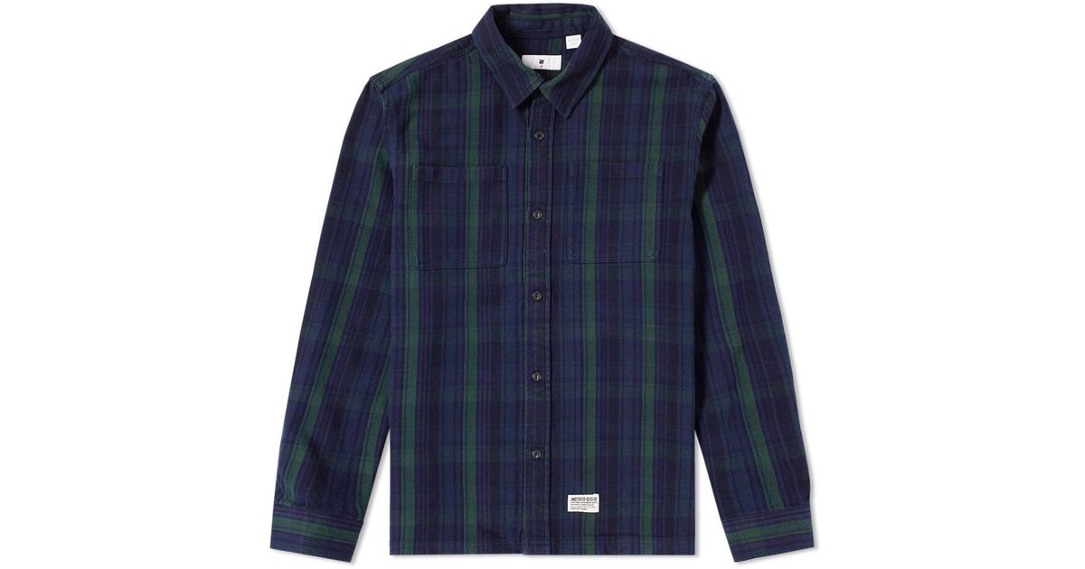 Undefeated heavy plaid flannel shirt in blue for men lyst for Heavy plaid flannel shirt