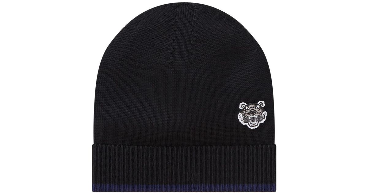 3ad0c80f670bfd KENZO Men's Tiger Crest Wool Beanie Hat in Black for Men - Lyst