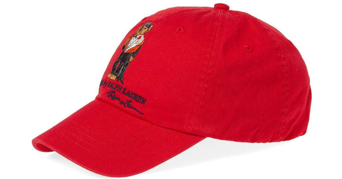 Lyst - Polo Ralph Lauren Bear Cap in Red for Men c38c3376d835