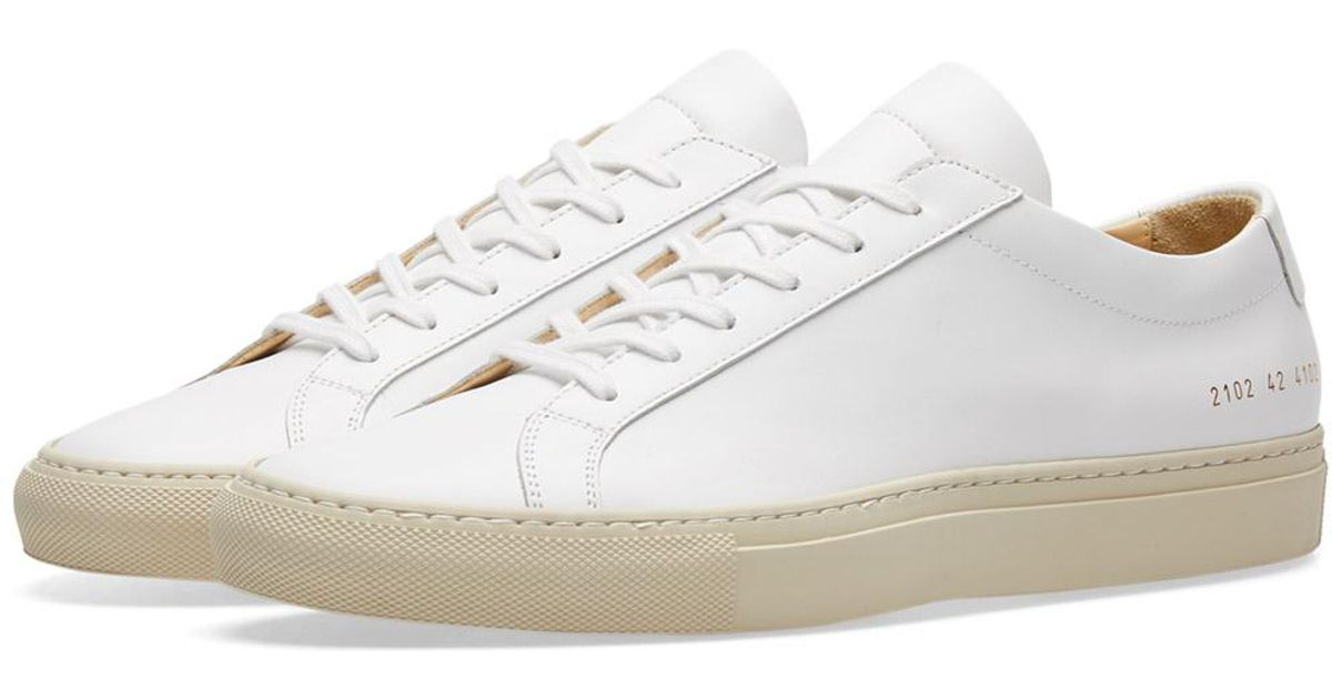 lyst common projects achilles low coloured sole in white. Black Bedroom Furniture Sets. Home Design Ideas
