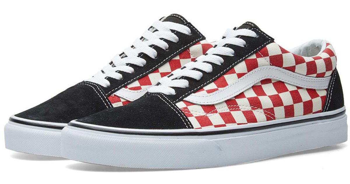 1bb9dcc6021e03 Vans Old Skool Checkerboard in Red - Lyst