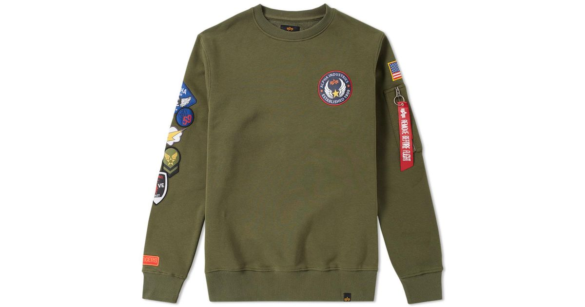 alpha industries patch crew sweat in green for men lyst. Black Bedroom Furniture Sets. Home Design Ideas