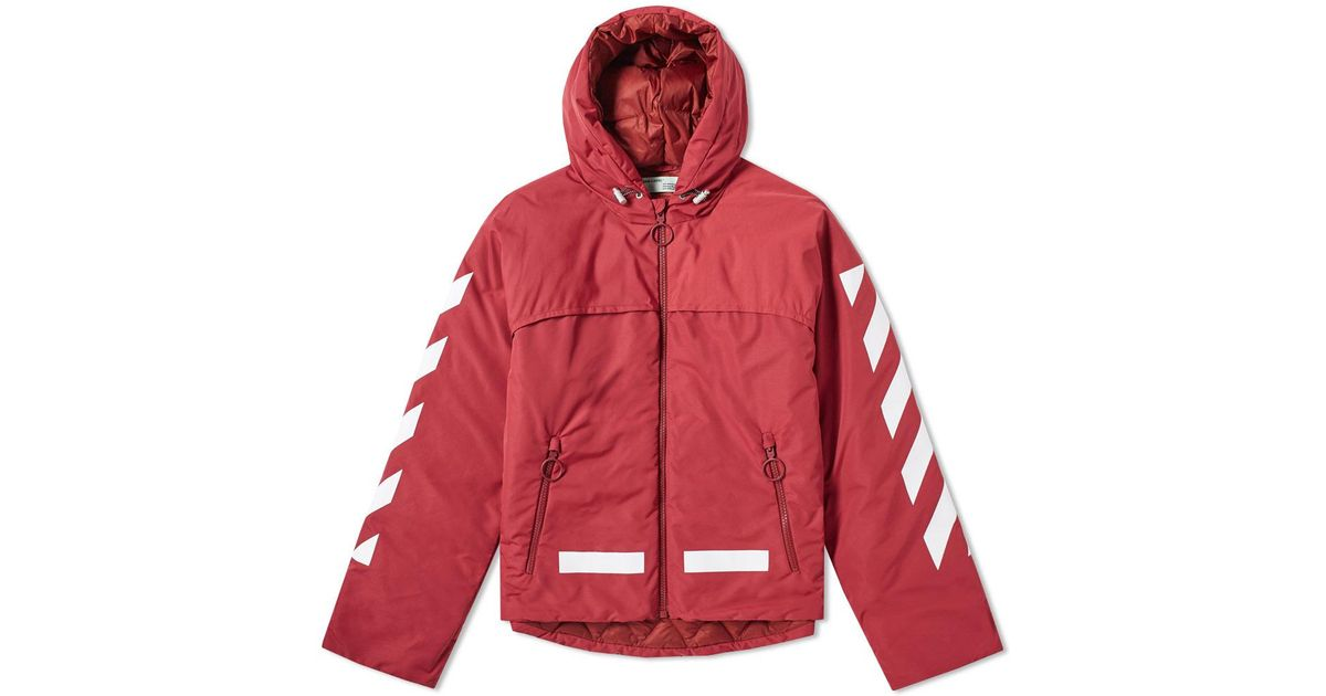 4cf8ad6b7c4d Lyst - Off-White c o Virgil Abloh Diagonal Arrows Down Jacket in Red for Men