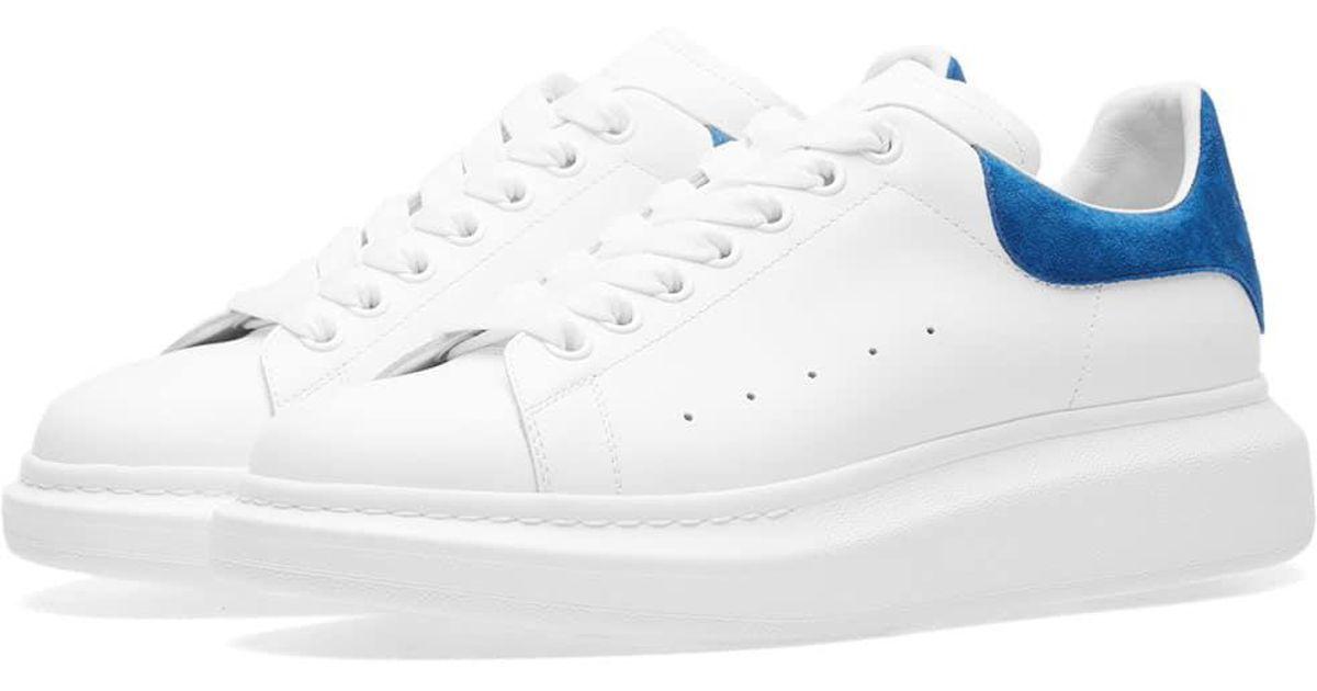 5de8150cd062 Alexander McQueen Wedge Sole Suede Heel Tab Sneaker in Blue - Lyst
