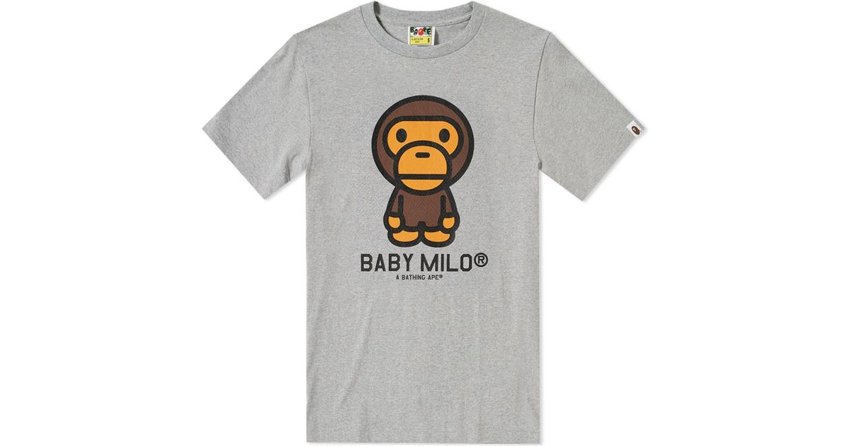 47c0d332 A Bathing Ape Baby Milo Tee in Gray for Men - Lyst