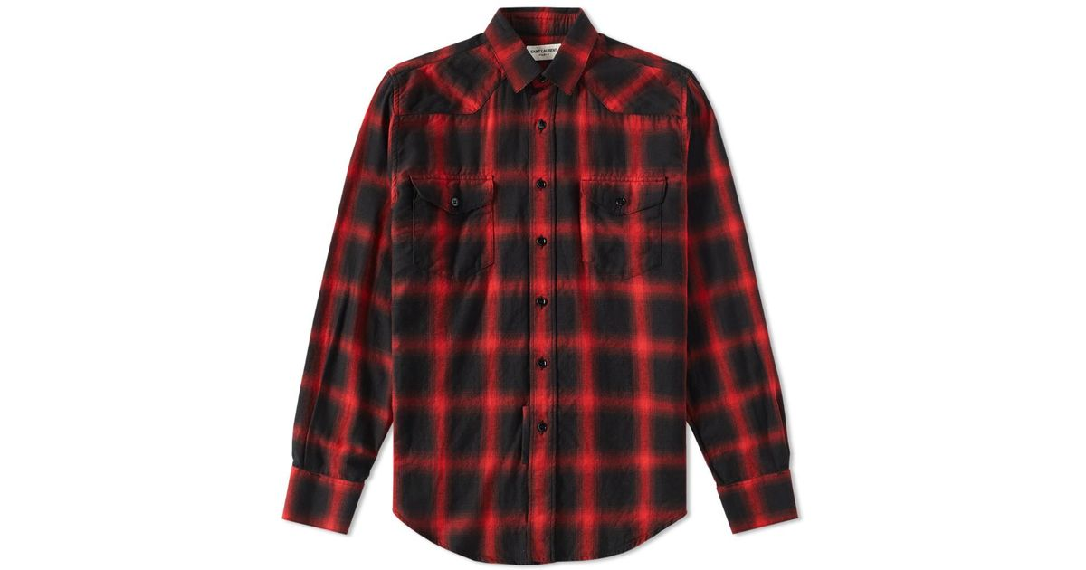 Lyst saint laurent western check shirt in red for men for Saint laurent check shirt
