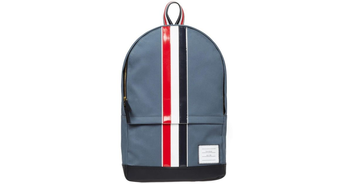 3b66fe241a Thom Browne - Gray Leather Stripe Mackintosh Backpack for Men - Lyst