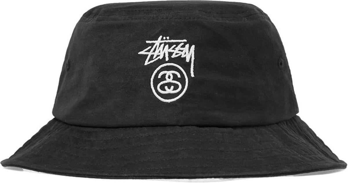 e45e517c480 Lyst - Stussy Stock Logo Bucket Hat in Black