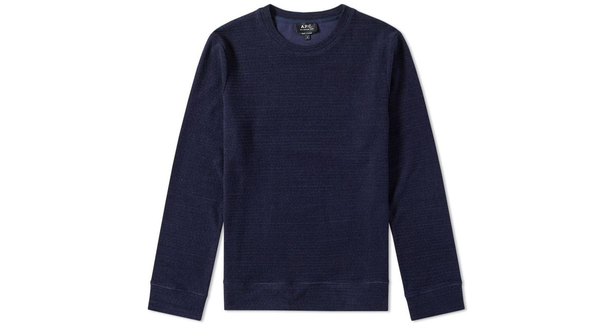 9216a93df9649 A.P.C. Jeremie Crew Sweat in Blue for Men - Lyst