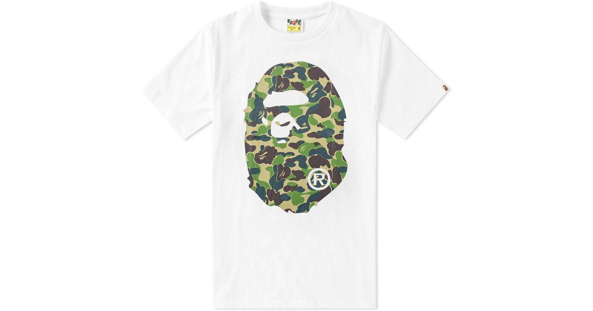 97f44e10db90 Lyst - A Bathing Ape Abc Camo Big Ape Head Tee in White for Men