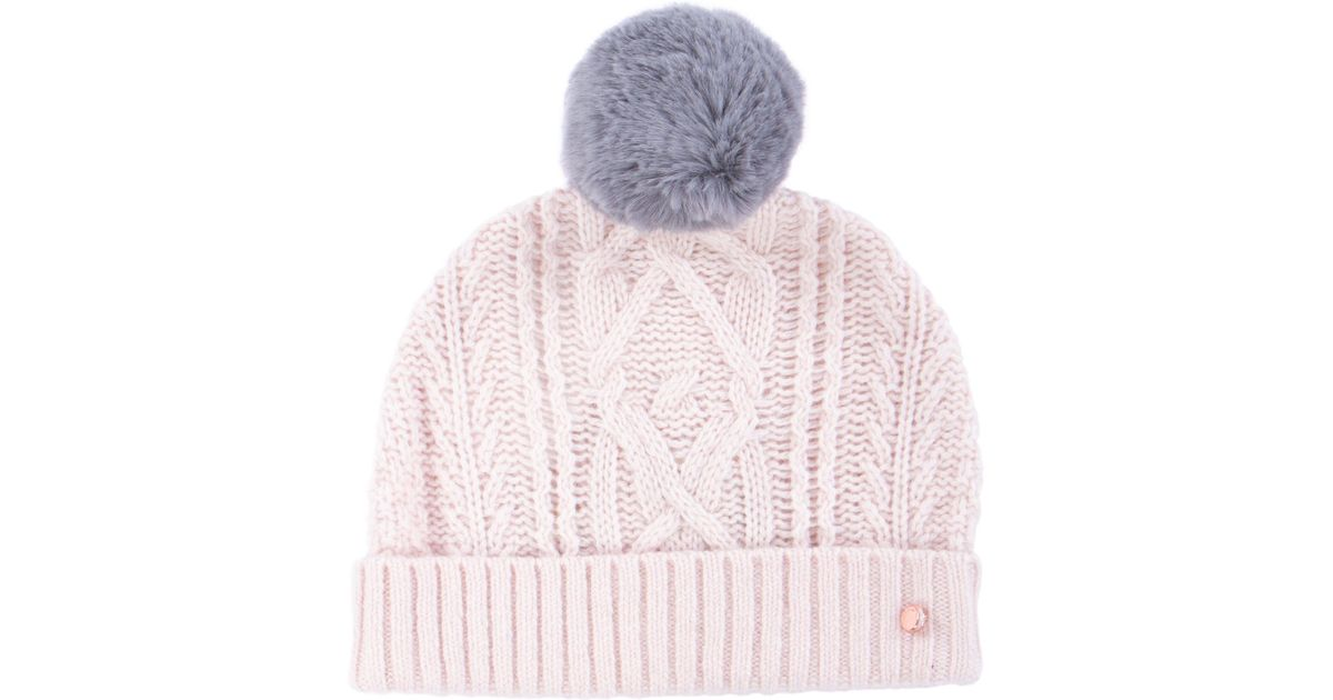 Ted Baker Kyliee Bobble Hat in Pink - Lyst dfd2ad386ea8