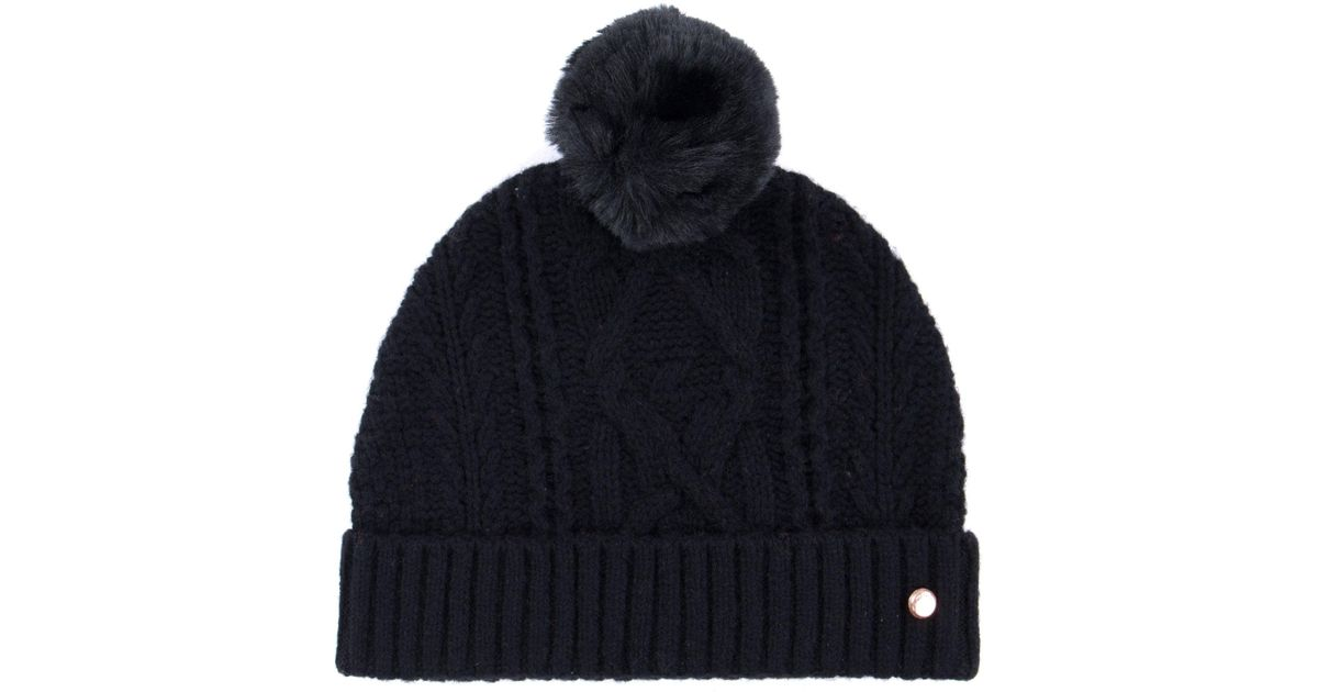 Ted Baker Kyliee Bobble Hat in Black - Lyst 31f9c87e095d