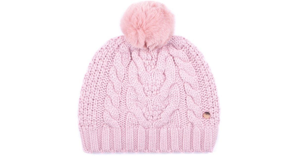 ad72d825bc6e6 Ted Baker Quirsa Cable Knit Pom Hat in Pink - Lyst