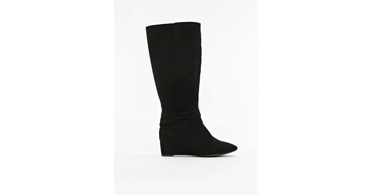 6a562662704a Evans Extra Wide Fit Black Bow Wedge Long Boots in Black - Lyst