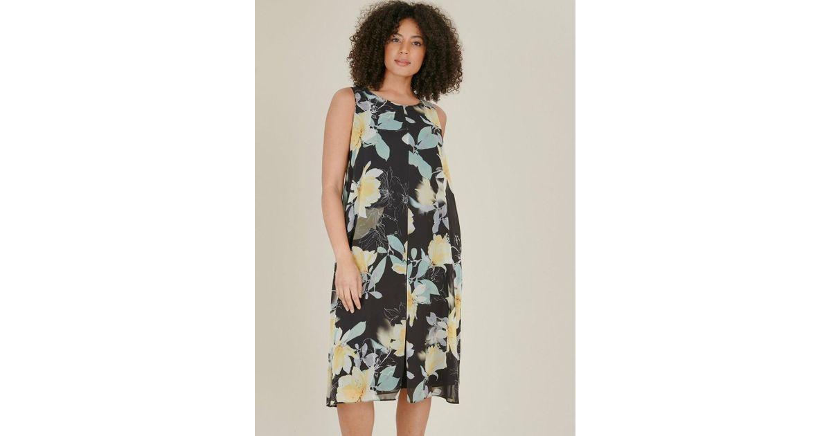 5738bad99e61 Evans Black Floral Print Split Front Shift Dress in Black - Save 25% - Lyst