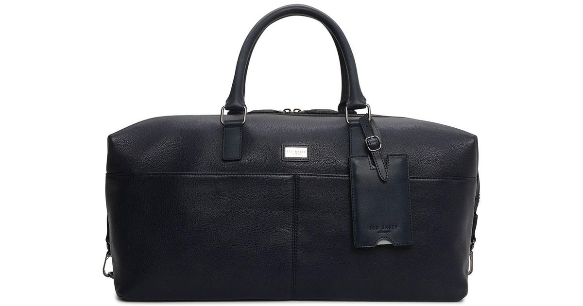 bcda51011dcf8d Ted Baker Tiger Leather Holdall in Blue for Men - Lyst