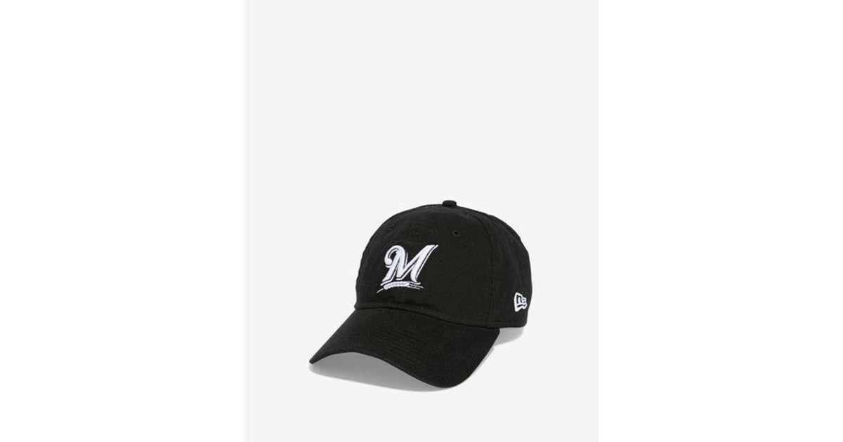 41d4638182e143 Express New Era Milwaukee Brewers Baseball Hat in Black for Men - Lyst