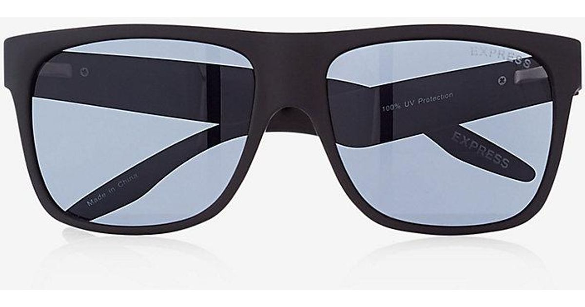 1bbead3c42 Lyst - Express Matte Rubber Square Sunglasses in Black for Men - Save 41%
