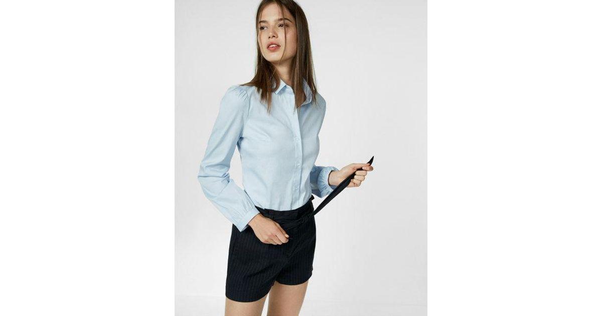 f6cea323cc3 Lyst - Express Puff Sleeve Essential Shirt in Blue