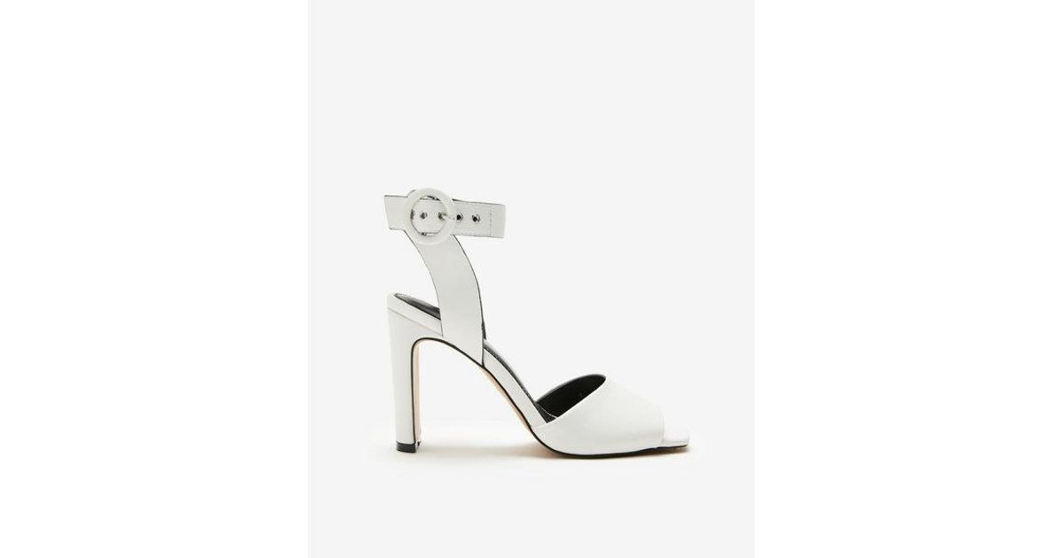 d687c5ad5f0 Lyst - Express Square Toe Buckle Heeled Sandals in White