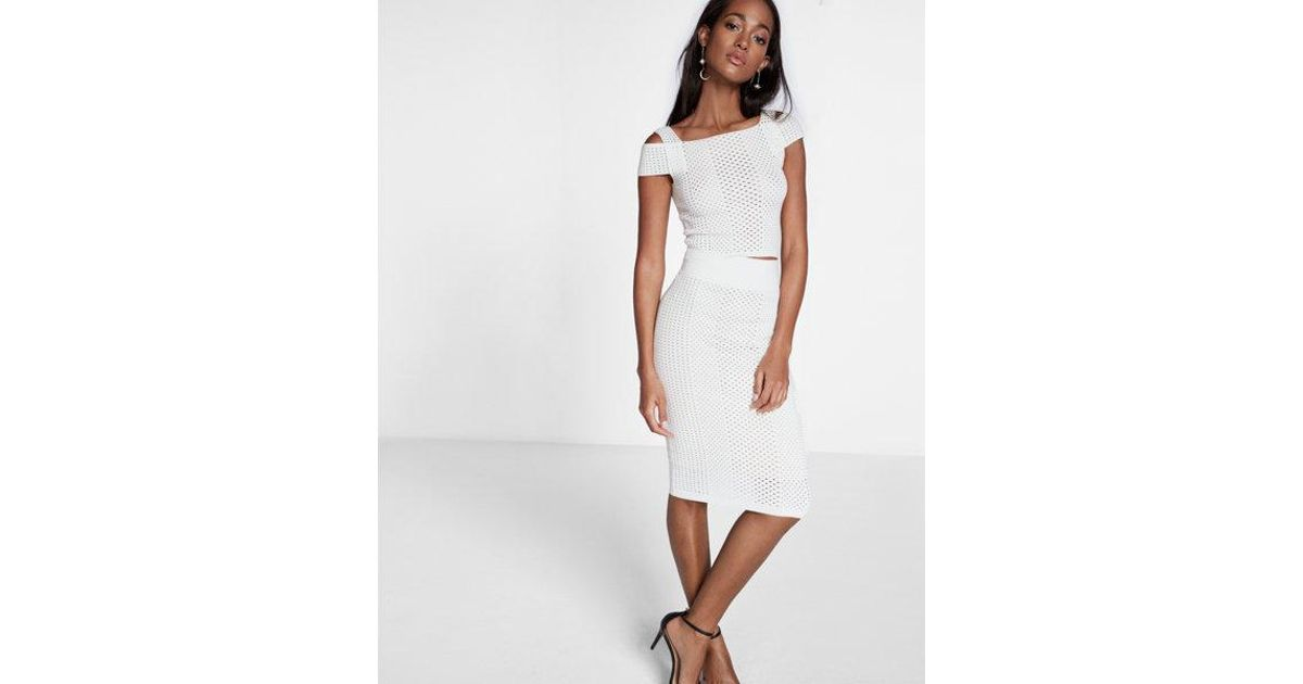 d20595f0f Express High Waisted Mixed Mesh Sweater Pencil Skirt in White - Lyst