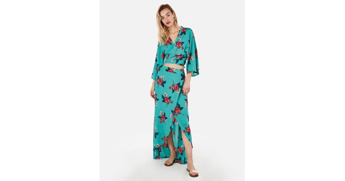 f20352f5576 Lyst - Express High Waisted Tropical Print Maxi Skirt in Blue