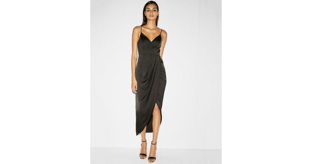 Lyst - Express Satin Wrap Fit And Flare Maxi Dress in Black