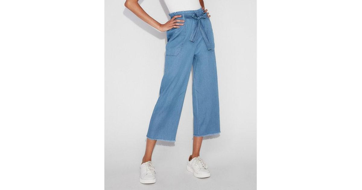 a46985a6c05212 Lyst - Express High Waisted Silky Soft Cropped Paperbag Pant in Blue