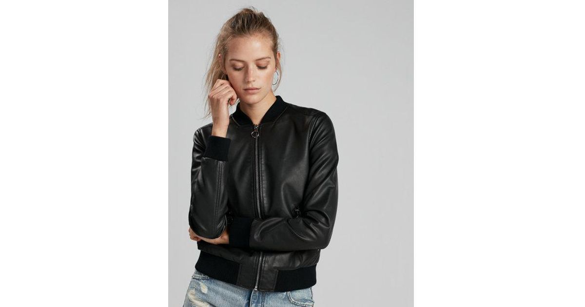 Lyst Express Faux Leather Bomber Jacket In Black