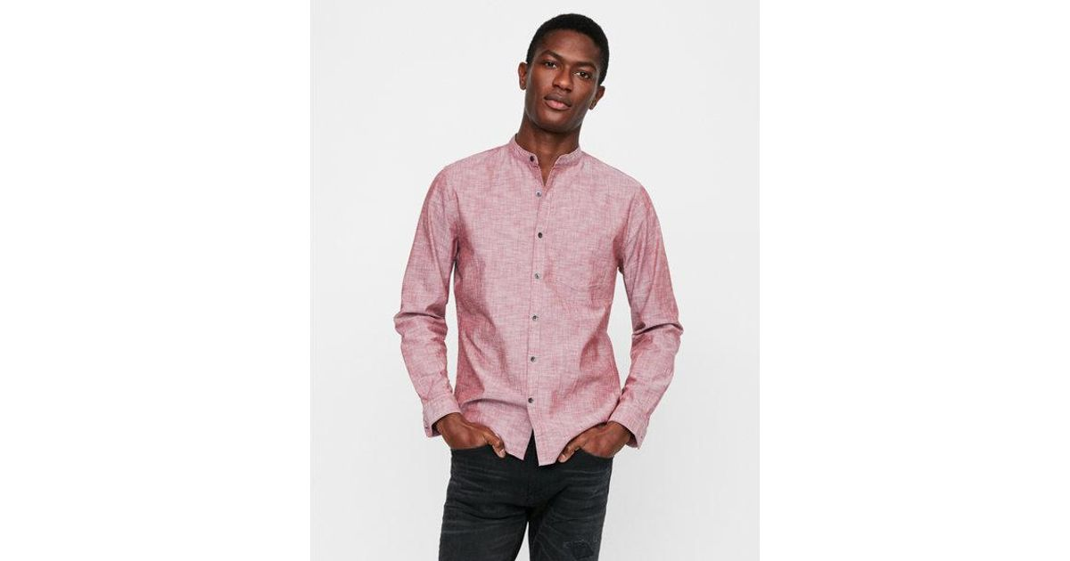 054761c96f1683 Lyst - Express Slim Band Collar Button Front Shirt in Red for Men