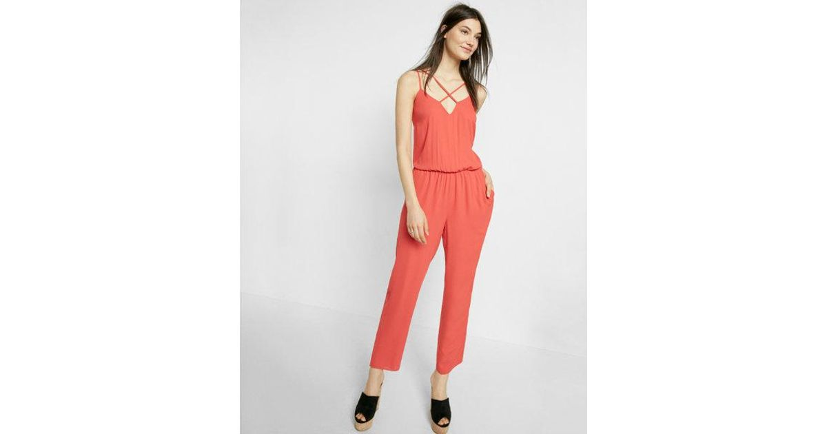 1204cb91963 Lyst - Express Strappy Jumpsuit in Red