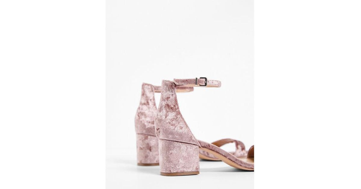 a317015a4066 Lyst - Express Velvet Ankle Strap Block Heeled Sandals in Pink