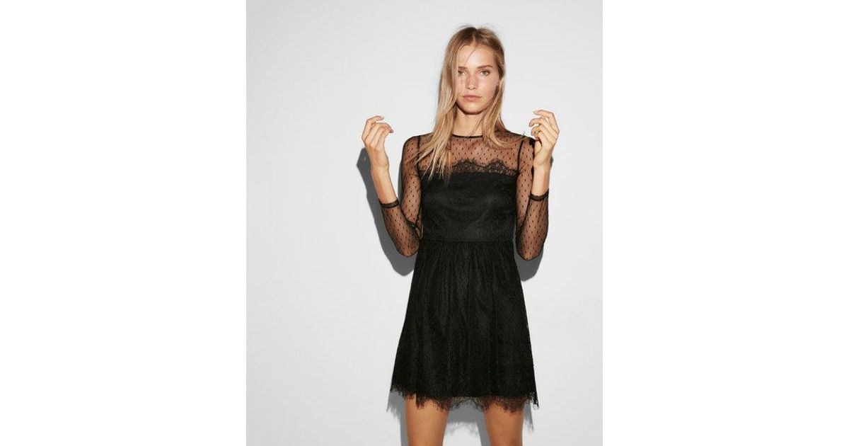 Lyst Express Delicate Lace Fit And Flare Dress In Black