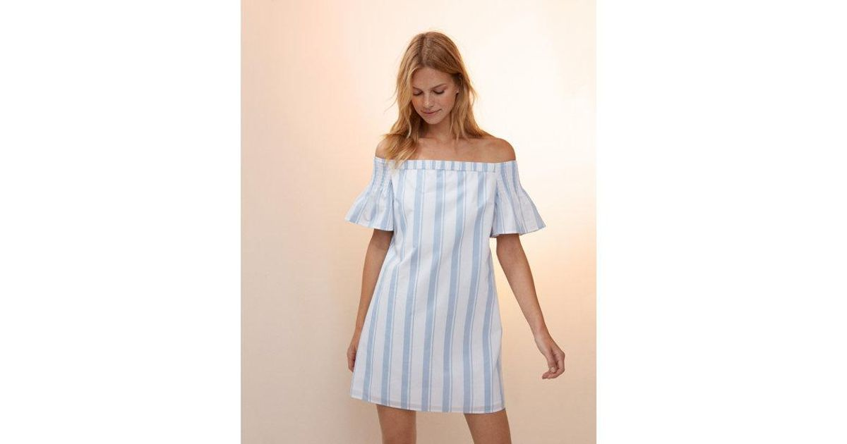 66bf6099c0e3 Lyst - Express Striped Off The Shoulder Open Back Dress in Blue