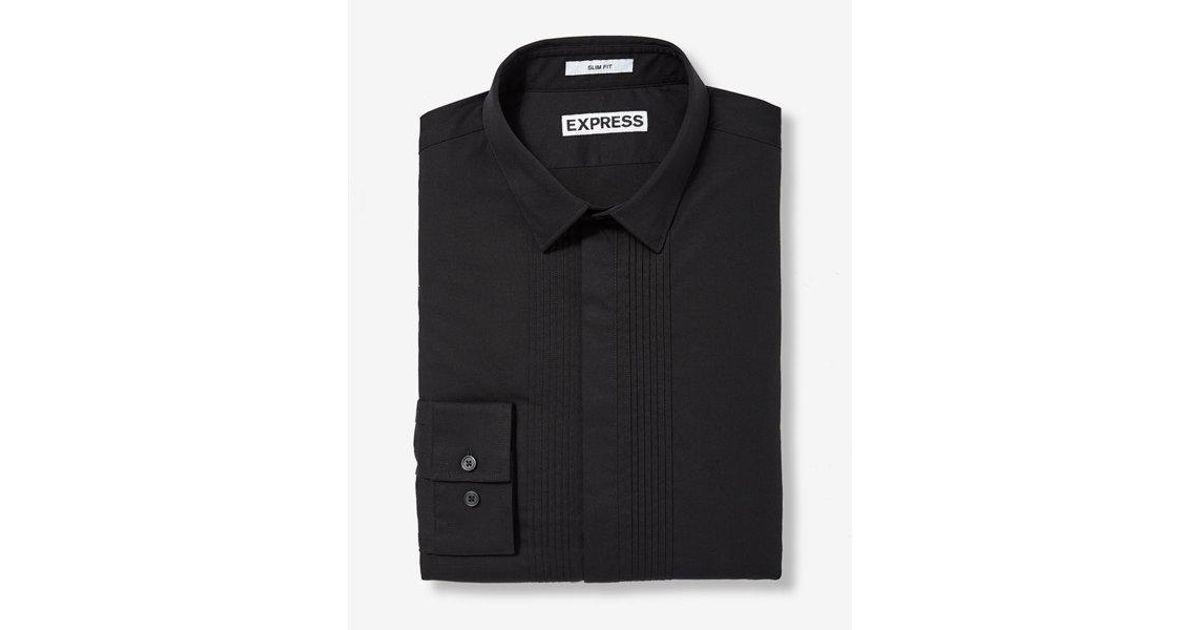Lyst express slim fit pleated tuxedo dress shirt in for Extra slim tuxedo shirt