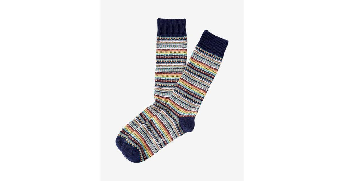 Express Multicolor Fair Isle Boot Socks in Blue for Men | Lyst