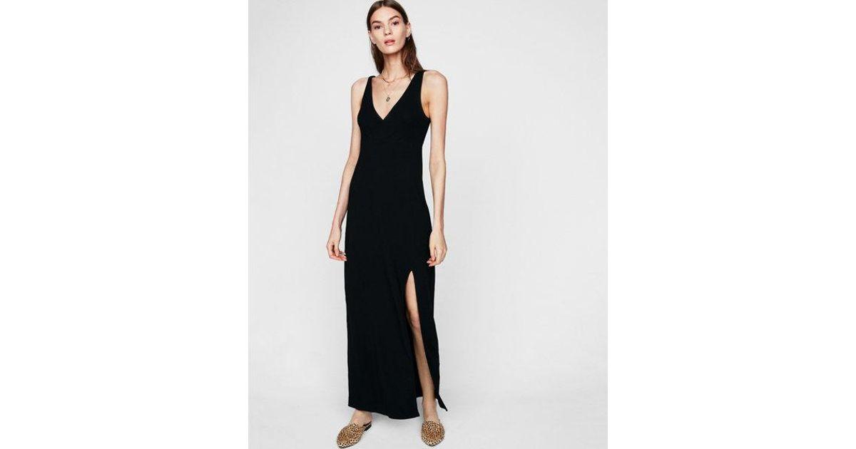 904f373bc668 Express Empire Waist Surplice Knit Maxi Dress in Black - Lyst