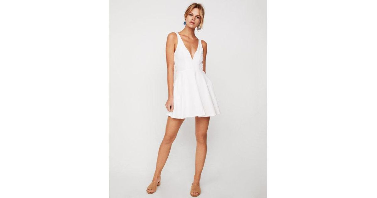 35db082ee88e Lyst - Express Deep V-wire Fit And Flare Skort Dress in White