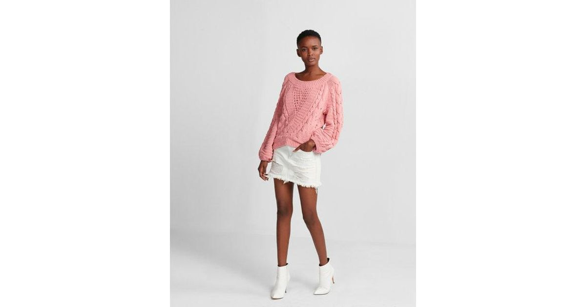 ca89d29aabf Express Cable Knit Chenille Boat Neck Balloon Sleeve Sweater in Pink - Lyst