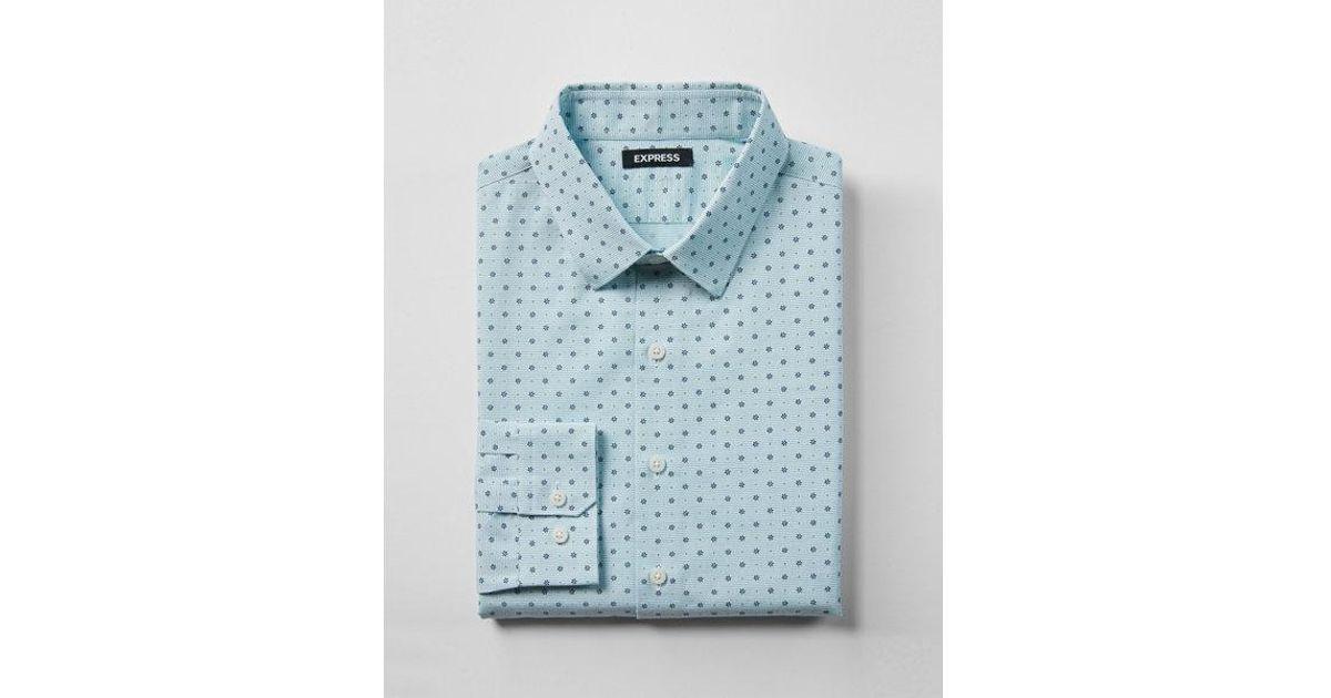 ccf6ba6fa379 Express Slim Floral Print Cotton Dress Shirt in Blue for Men - Lyst