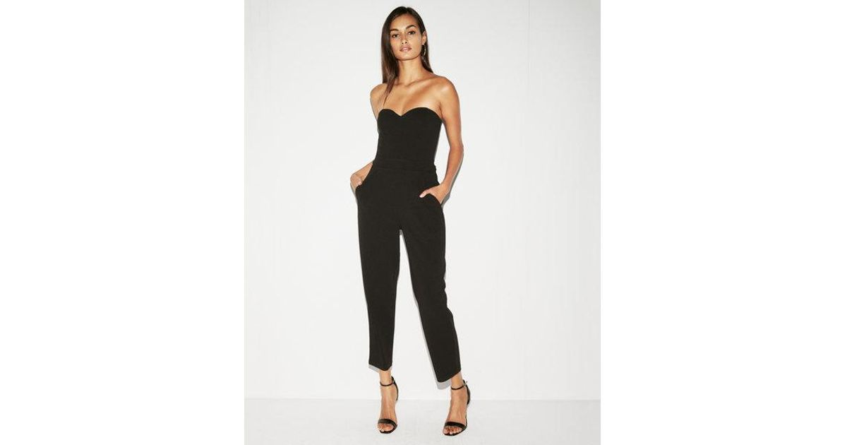 8f2ab4f9ccb3 Express Strapless Sweetheart Neckline Jumpsuit in Black - Lyst